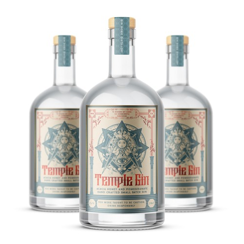 Gin label with the title 'Temple Gin'