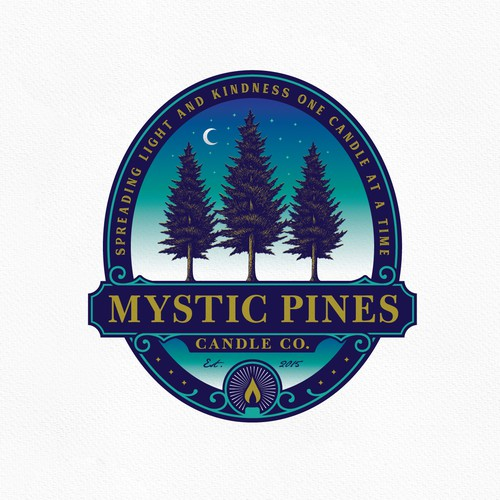 Candle logo with the title 'Mystic Pines'
