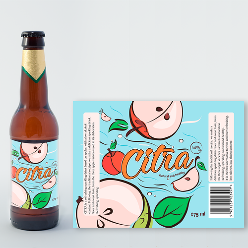 Apple cider label with the title 'Label  Citra cider'
