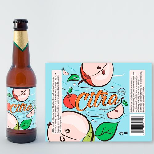 Apple cider label with the title 'Label  Citra cider'