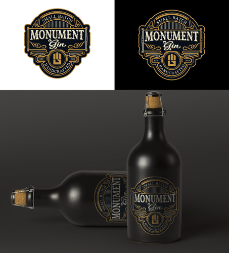 Gin logo with the title 'Monument gin'