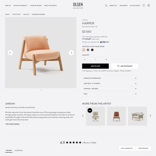 Marketplace website with the title 'Web design for Interior Marketplace'