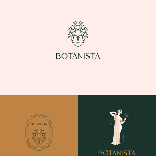 Botanical logo with the title 'Botanical Goddess Logo'