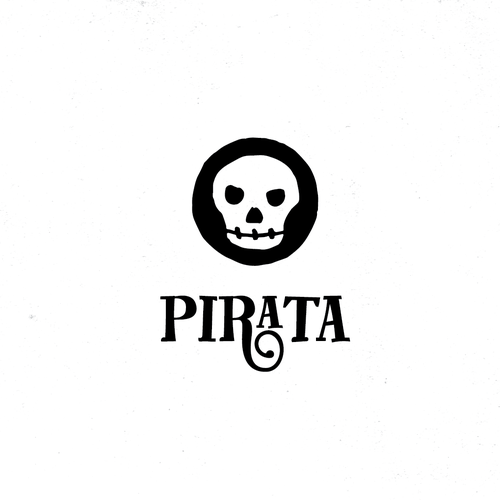 Skull and crossbones logo with the title 'Logo proposal for a pub'