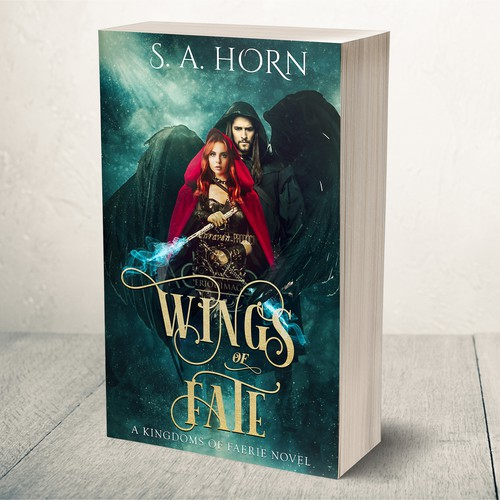Angel book cover with the title 'Book cover for Fantasy novel'