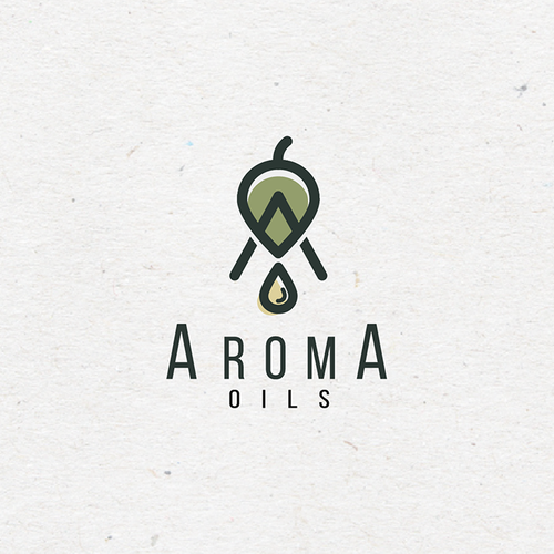 Aroma logo with the title 'Clean and Sleek Logo concept for a essential oil brand.'
