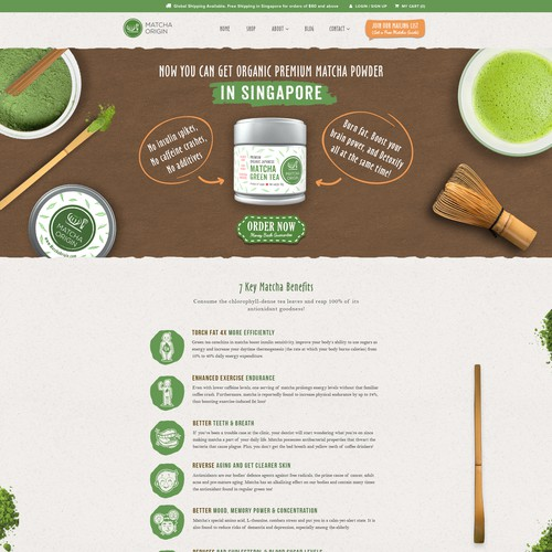 Fresh website with the title '1-to-1 Project: Fun and Warm Website design for a Matcha Tea Subscription website - Home page'