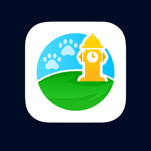 Paw design with the title 'Puppy Potty Log app icon'