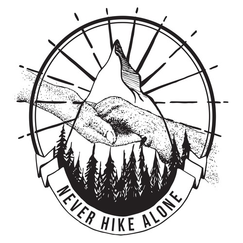 Blackwork design with the title 'Never Hike Alone'