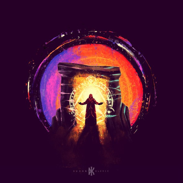 Brush artwork with the title 'The Portal'