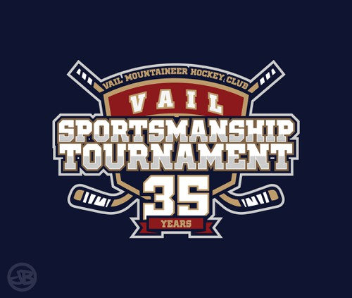 Hockey stick logo with the title 'Vail Mountaineer Hockey Club 35th Annual Sportsmanship Tournament'