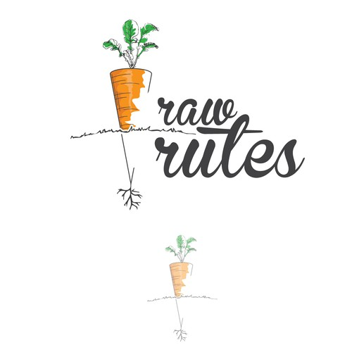 Kitchenware logo with the title 'sketch logo for Raw Rutes'
