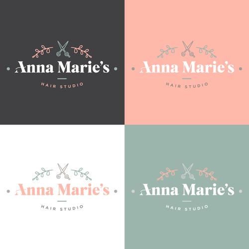 Stylist logo with the title 'Anna Marie's Hair Studio Logo'