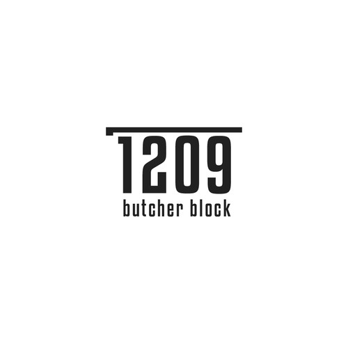 Butcher logo with the title 'Butcher and counter top brand'