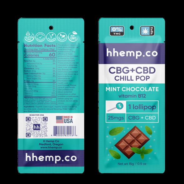Lollipop design with the title 'Packaging design for hemp lollipop'