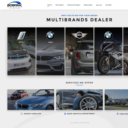 Automotive website with the title 'BOBRINK - MULTIBRAND CAR DEALER'