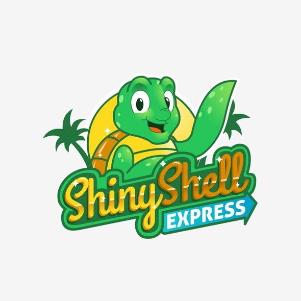 Carwash logo with the title 'Shiny Shell Express Car Wash'