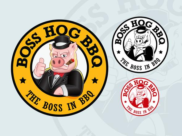 Pig logo with the title 'Boss Hog BBQ logo design'