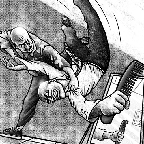 Postcard artwork with the title 'Absurdity Is Two Balding Men Fighting For A Comb'