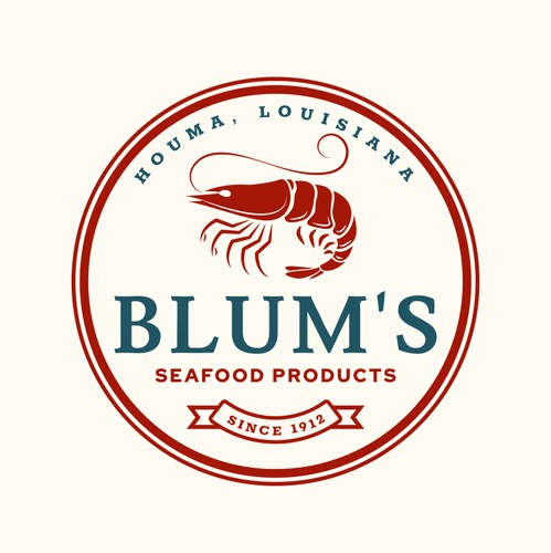 Shrimp design with the title 'Blum's Seafood Products'