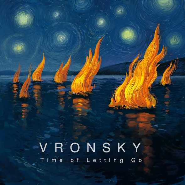 Hand-painted artwork with the title 'Album cover for VRONSKY '