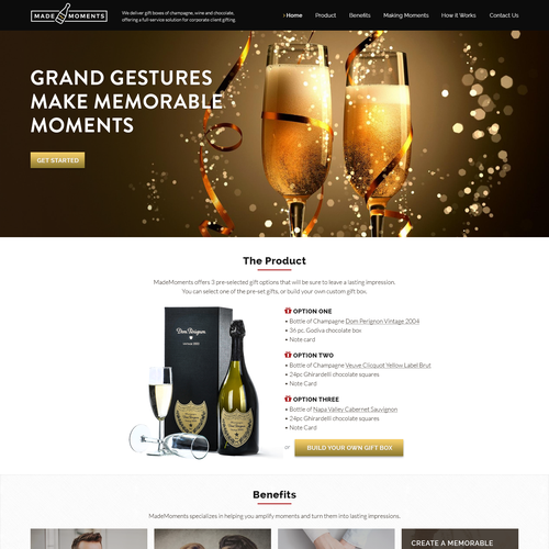 Gift design with the title 'Made Moments Landing page'