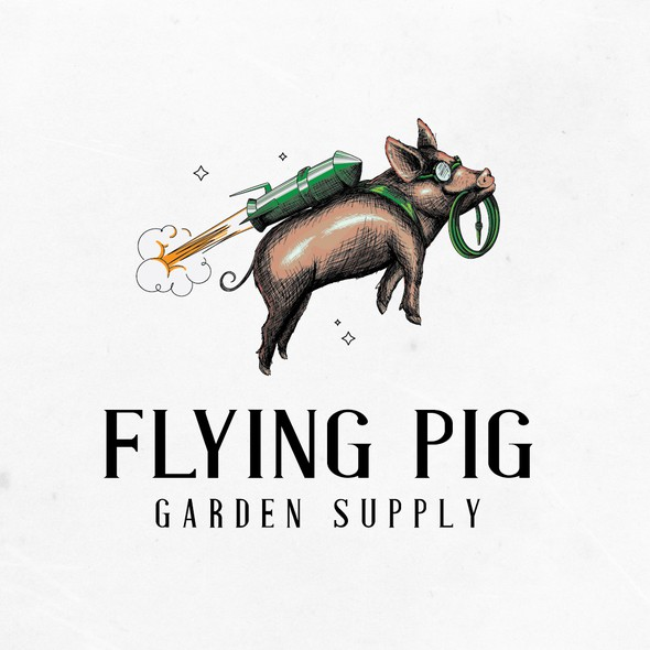 Realistic logo with the title 'Flying pig logo design for Garden supply'