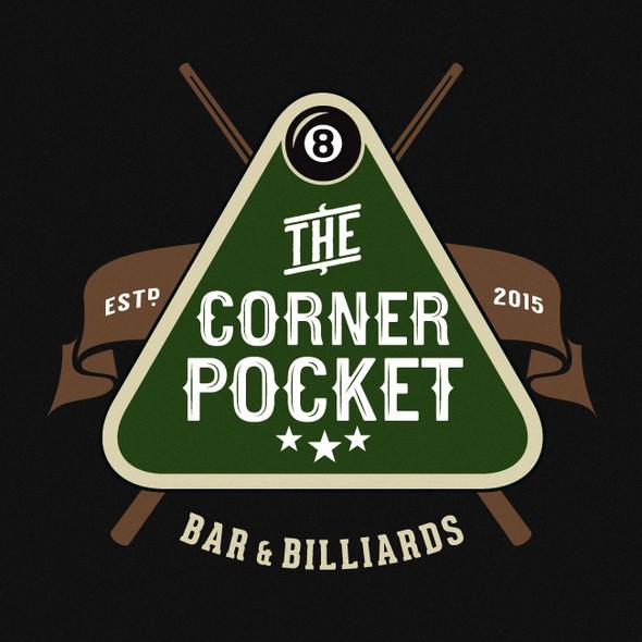 Billiard design with the title 'Pool Hall & Bar Logo Design'