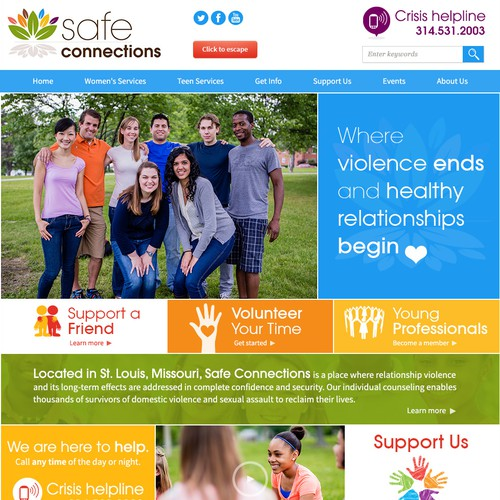 Homepage website with the title 'Bright and Cheerful Landing Page for Safe Connections '