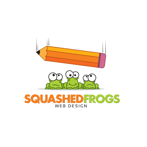 Simple illustration with the title 'Squashed Frogs Web Design needs a new logo'