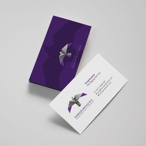 Falcon design with the title 'Logo and business cards for Peregrine Pacific'