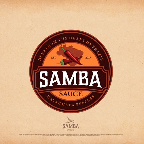 "Brazilian design with the title 'Logo design concept for ""Samba Sauce""'"