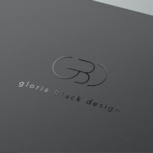 Straight logo with the title 'Gloria Black INTERIOR DESIGNER '