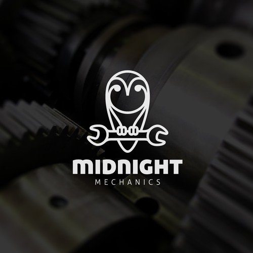 Owl logo with the title 'Creative logo for Midnight Mechanics'