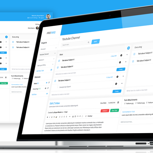 Flat website with the title 'UX Task Management Tool Concept'