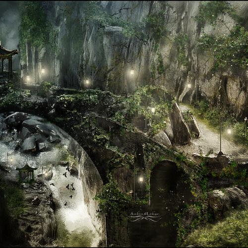 Digital artwork with the title 'unique fantasy landscape - mystical, fairytale, '