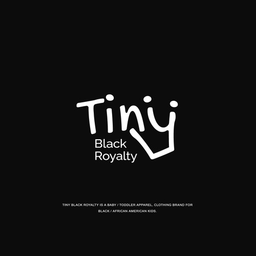 Kid's clothing logo with the title 'Playful wordmark logo concept for Tiny Black Royalty'