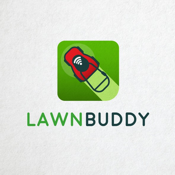 Lawn mower logo with the title 'Lawn Buddy'