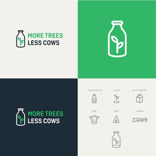 Clever design with the title 'Minimal logo for MORE TREES LESS COWS'