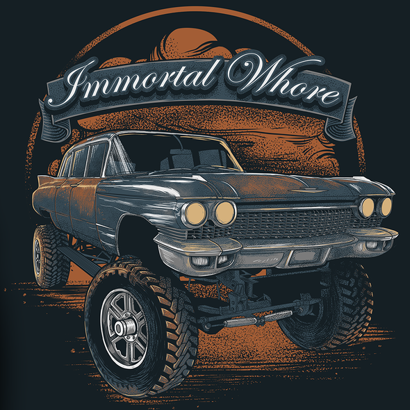 Vintage car design with the title 'immortal whore _entry'
