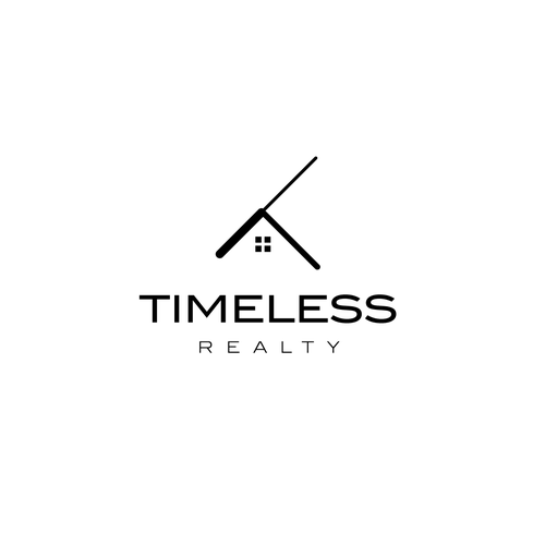 Clock logo with the title 'Logo concept for the real estate company'