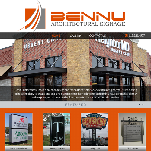 Logistics website with the title 'Web page design for BENNU'