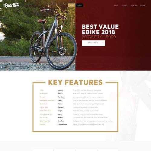 Ecommerce design with the title 'Webdesign for Ride1up'