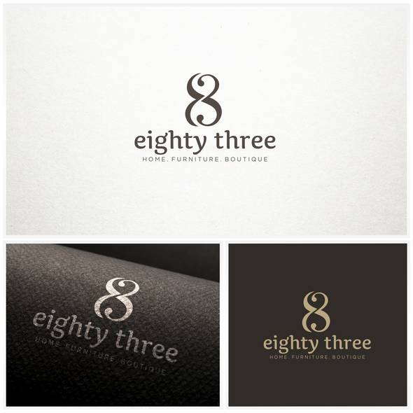 Home furnishing logo with the title 'Elegant logo design for eighty three'