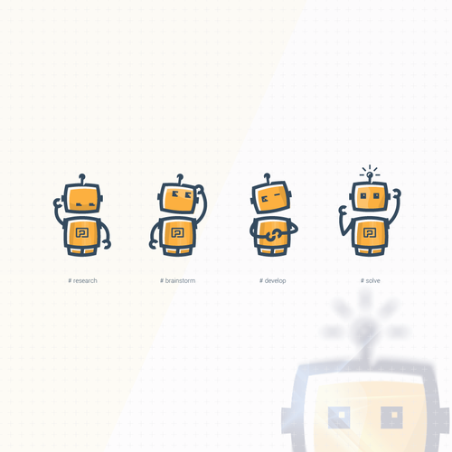Flat design with the title 'Retro robot redesign'