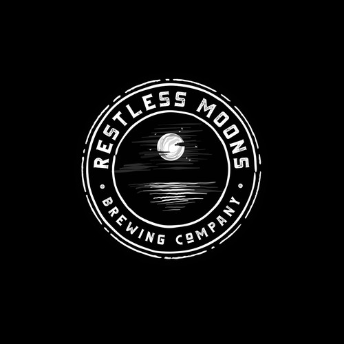 Brewing company logo with the title 'Logo for Restless Moons Brewing Company'