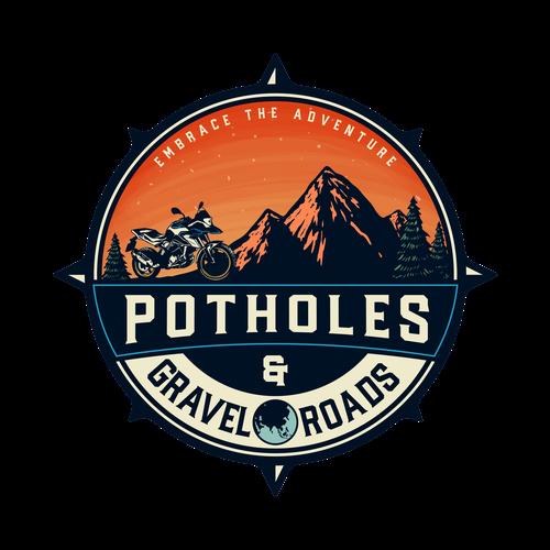 Motorsport design with the title 'Potholes & Gravel Roads'