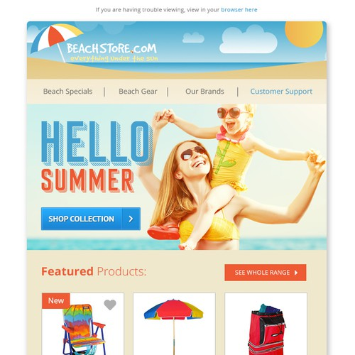 Campaign design with the title 'Beach Store email campaign design'