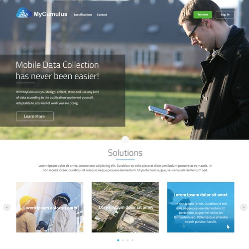 Cloud website with the title 'Web page design for cloud data collection app'