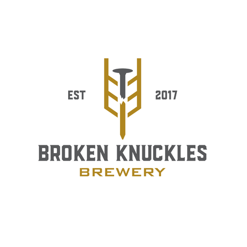 Alcohol logo with the title 'Broken knuckles brewery'